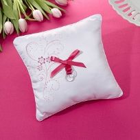 Pink Floral Wedding Ring Cushion